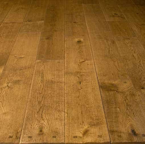 Diamond plus solid hand scraped square pegged oak floor for Square wood flooring
