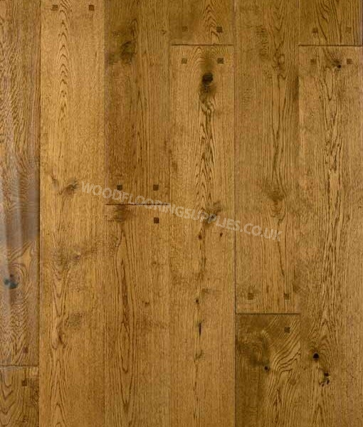 Atkinson & Kirby 501912 Diamond Plus Antique Solid Oak Square Pegged  Handscraped Stained Lacquered - Diamond Plus Solid Hand-Scraped Square Pegged Oak Floor Wood