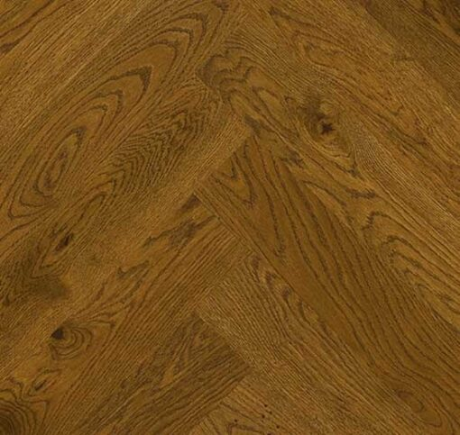 Click Herringbone Engineered Golden Brown Oak Flooring Brushed & Matt Lacquer