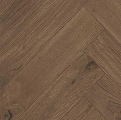 Click Herringbone Engineered Dark Stained Oak Flooring Brushed & Oiled