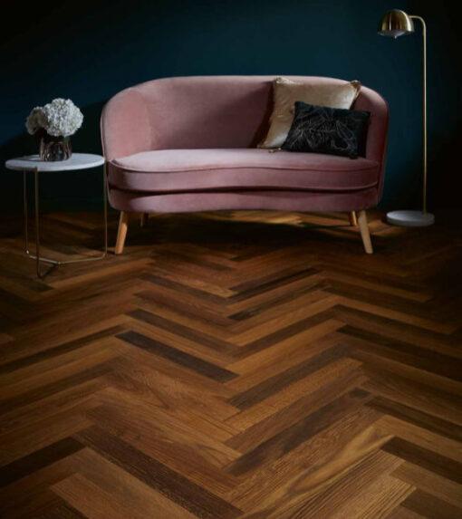 Atkinson & Kirby Harlsesden Engineered Herringbone Smoked Oak Flooring 70mm Wide