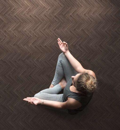 Ebony Herringbone Vinyl Flooring