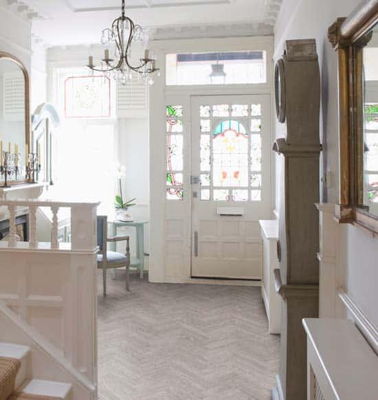 Intermezzo Grey Slate Effect Laminate Flooring 2 05 M: Luvanto Washed Grey Oak Herringbone Vinyl Flooring
