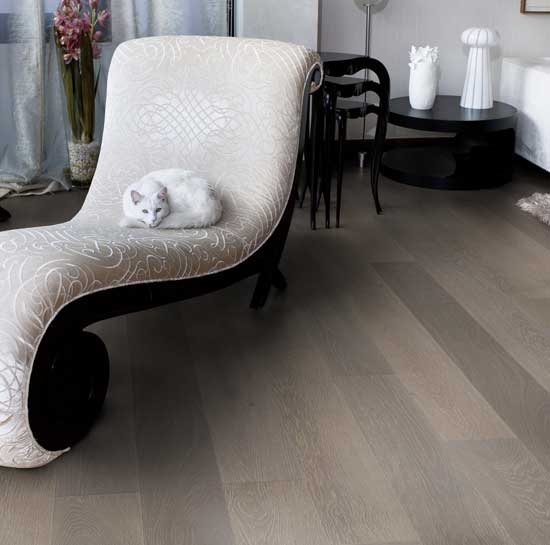 189mm Clay Grey Engineered Oak Flooring Brushed & Matt Lacquered