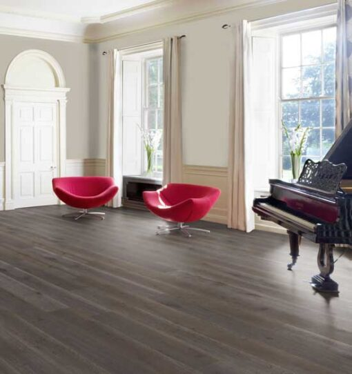 189mm Dark Grey Engineered Oak Flooring Brushed & Matt Lacquered
