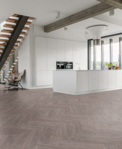 Luvanto Washed Grey Oak Click Herringbone Vinyl Flooring