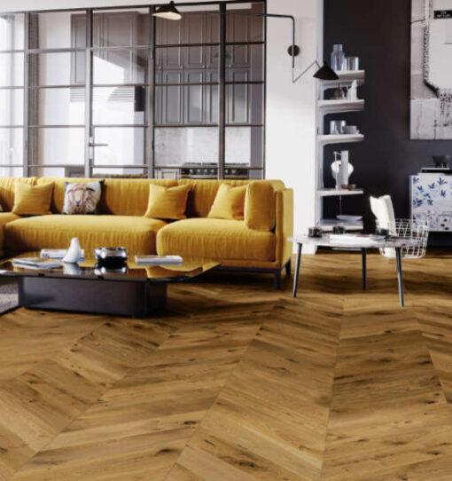 Smoked Chevron Engineered Oak Flooring T&G